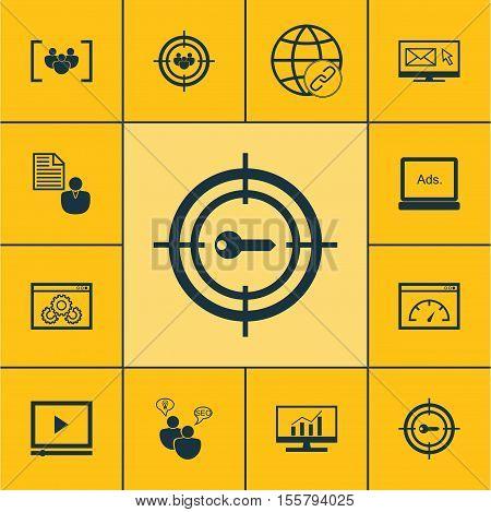 Set Of Marketing Icons On Report, Seo Brainstorm And Digital Media Topics. Editable Vector Illustrat