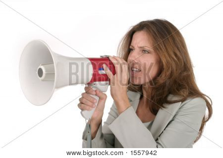 Attractive Business Woman With Megaphone 2