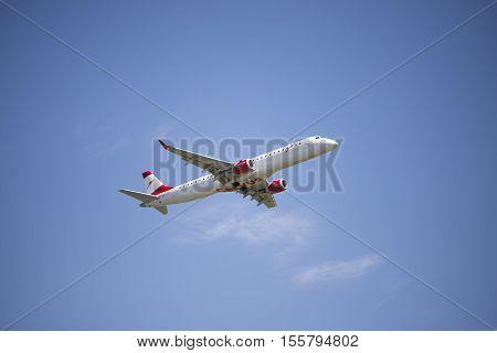 Maribor, Slovenia - April 16, 2016: Austrian Airlines Embraer Oe-lwd Taking Off Runway At Maribor Ai
