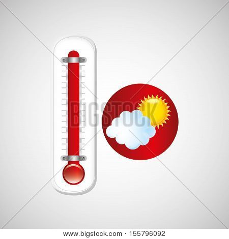 red thermometer icon cloud sun weather meteorology vector illustration eps 10