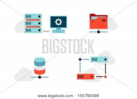 Set of Virtualization or Cloud Infrastructure Vector Icons. Flat Style