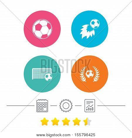 Football icons. Soccer ball sport sign. Goalkeeper gate symbol. Winner award laurel wreath. Goalscorer fireball. Calendar, cogwheel and report linear icons. Star vote ranking. Vector