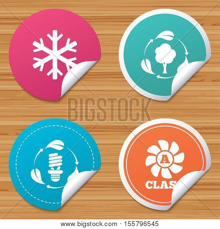 Round stickers or website banners. Fresh air icon. Forest tree with leaves sign. Fluorescent energy lamp bulb symbol. A-class ventilation. Air conditioning symbol. Circle badges with bended corner