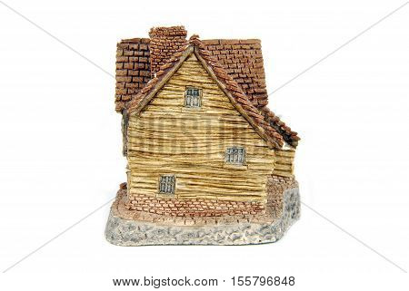 closeup of the miniature house isolated on white