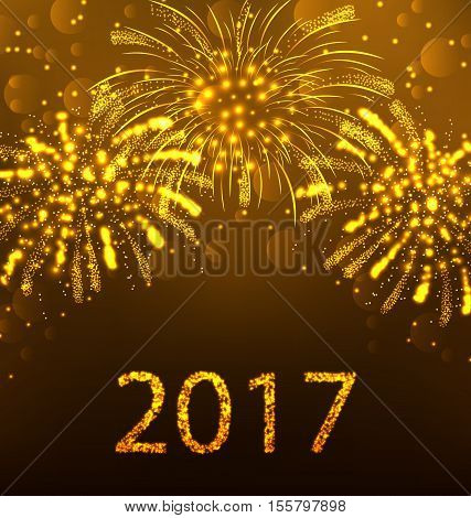 Illustration Happy New Year Fireworks 2017, Holiday Background Design - Vector