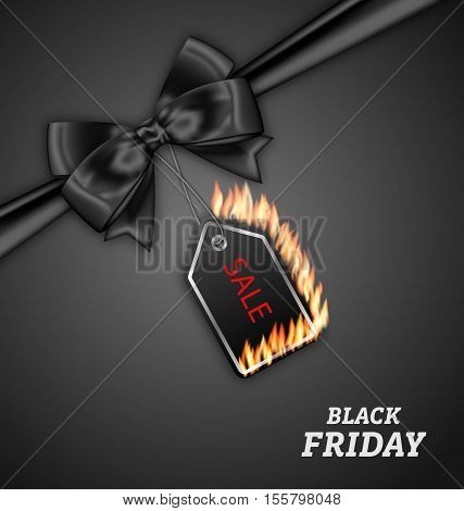Illustration Sale Discount with Fire Flame, Black Bow Ribbon for Black Friday - Vector