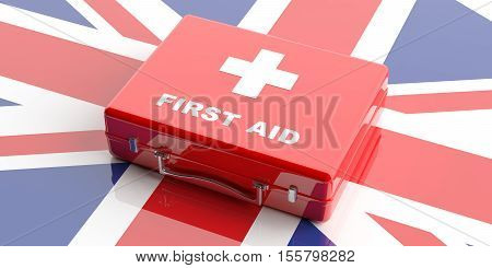 3D Rendering First Aid Kit On Uk Flag Background