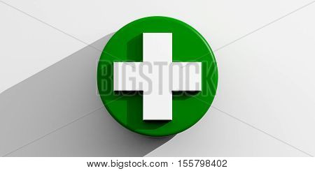 3D Rendering White Cross On Green And White Background