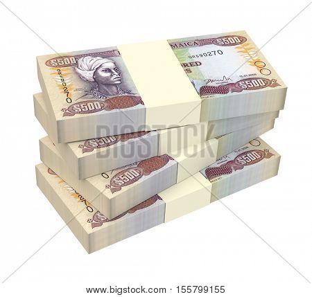 Jamaican dollar bills isolated on white background. 3D illustration.