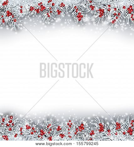 Illustration Christmas Banner with Silver Fir Twigs, Copy Space for Your Text - Vector