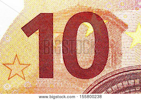 photographed close-up money of the European Union, the par value of ten euros