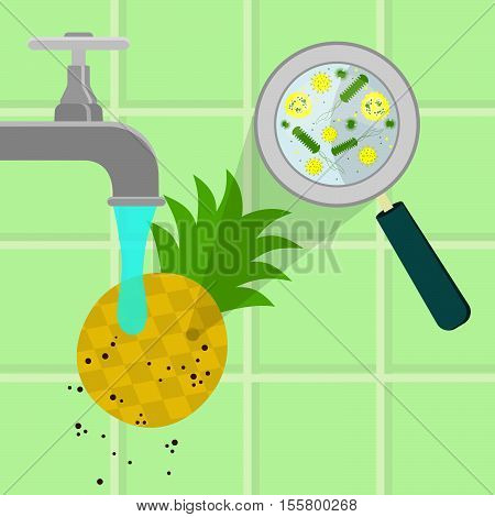 Washing Contaminated Pineapple