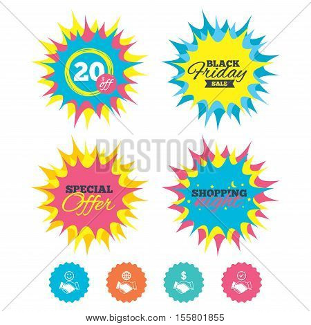 Shopping night, black friday stickers. Handshake icons. World, Smile happy face and house building symbol. Dollar cash money. Amicable agreement. Special offer. Vector
