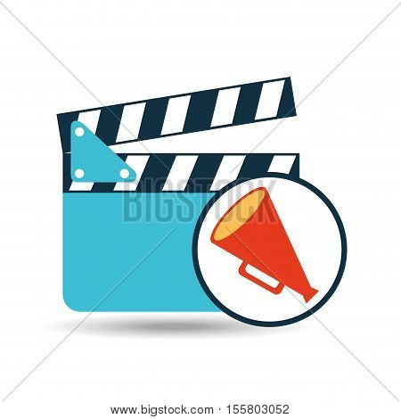 concept cinema clapper and megaphone icon desgin vector illustration