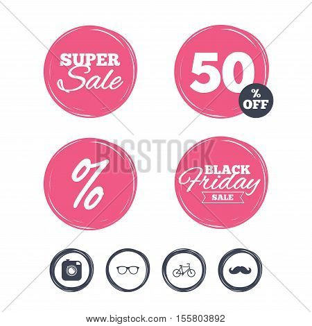 Super sale and black friday stickers. Hipster photo camera with mustache icon. Glasses symbol. Bicycle family vehicle sign. Shopping labels. Vector
