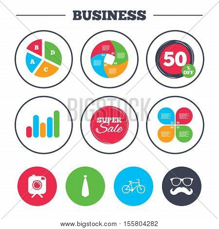 Business pie chart. Growth graph. Hipster photo camera with mustache icon. Glasses and tie symbols. Bicycle family vehicle sign. Super sale and discount buttons. Vector