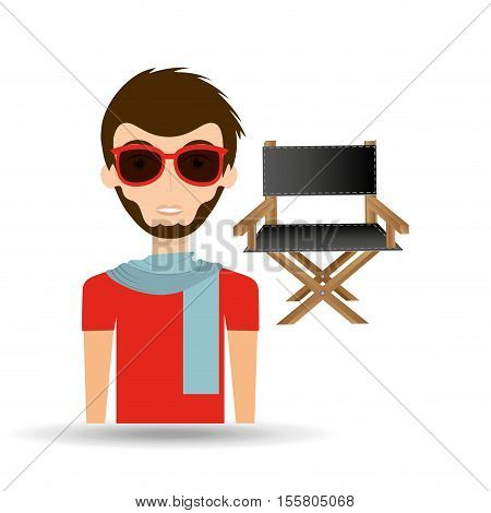 man hipster concept movie cinema director chair icon vector illustration eps 10