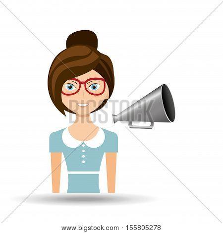beautiful girl concept cinema movie speaker icon vector illustration eps 10