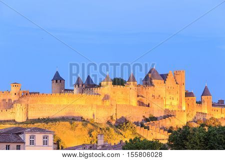 Medieval town of Carcassonne at night France