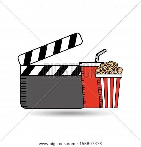 clapper movie pop corn design vector illustration eps 10