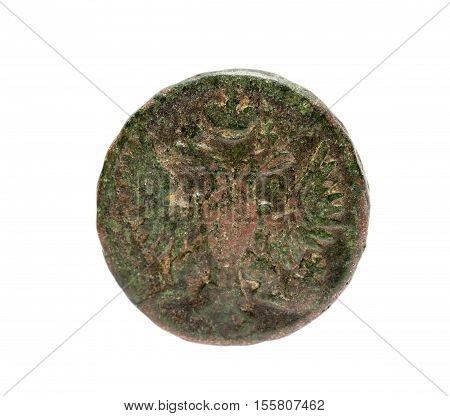 isolated on white background Old coins of the Russian Empire, disused. Money has a lot of defects, rust and mechanical damage