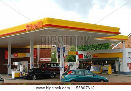 ASHFORD, ENGLAND - JUNE 17, 2008: Exterior of a Shell petrol filling station. One of the largest companies in the world the Anglo Dutch multinational was formed in 1907.
