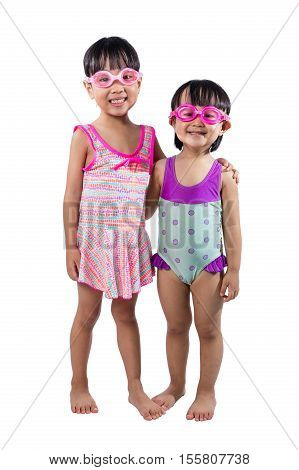Asian Chinese Little Sister Portrait Wearing Goggles And Swimsuit