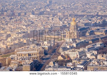 Beautiful view of Paris with Les Invalides (the Army Museum) from the top in daylight, Paris, France poster