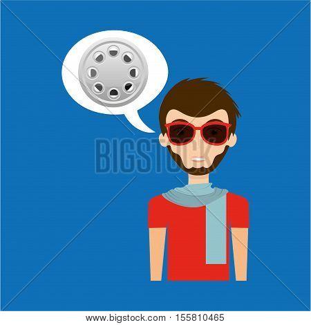 man hipster concept movie cinema film reel icon vector illustration eps 10