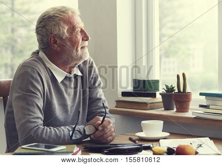 Senior Adult Thinking Memory Happy Concept