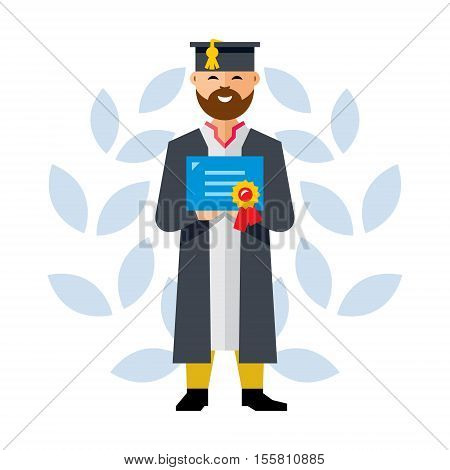 Man in academic dress with a diploma about education in his hands. Isolated on a white background