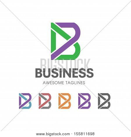 line creative letter B concept  Vector logo template, abstract business letter B  icon