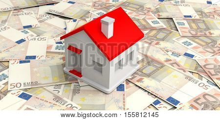 3D Rendering Small House On 50 Euros Banknotes