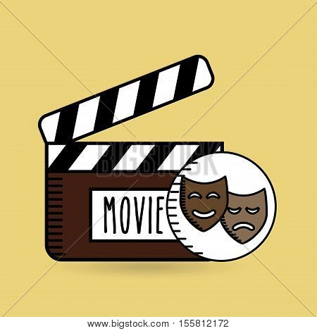 clapper movie hand icon design vector illustration