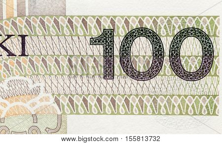 photographed close-up new Polish paper money. Banknotes hundred zloty
