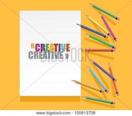 creative template for art studio laboratory courses. colored pencils.