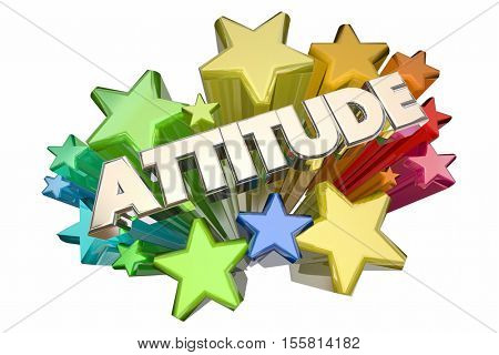 Attitude Positive Outlook Stars Word 3d Illustration