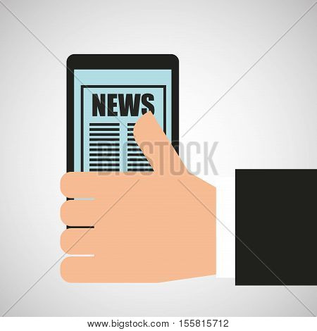 hand holding mobile news broadcast vector illustration eps 10