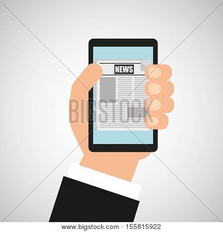 smartphone news app online graphic vector illustration eps 10