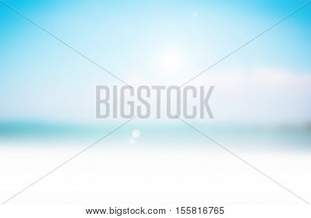 Soft focus of summer ocean beach with Blue water and sky bright background. Nature blur of sea surfing wave daytime. Beautiful view outdoor window.