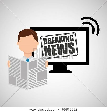 man reading news breaking vector illustration eps 10