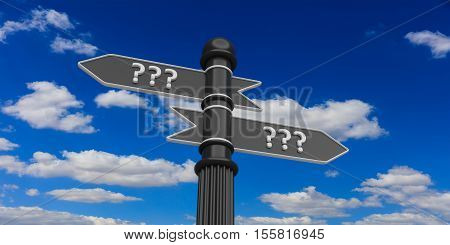 3d rendering pointers with question mark on a blue sky background