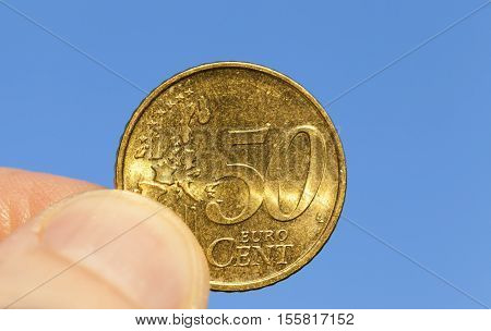 photographed close-up coins of the European Union - the euro. Little depth of field