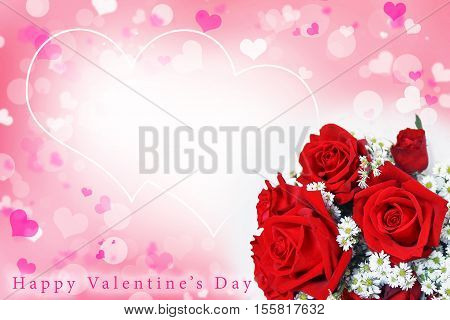 Abstract blurred background of Illustration Valentine's day concept. Pink white hearts. Flower love card. Pastel color tones. Bouquet of beautiful red roses. Happy valentine's day arc text.