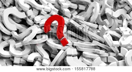 3D Rendering Red Question Mark On Question Marks Background