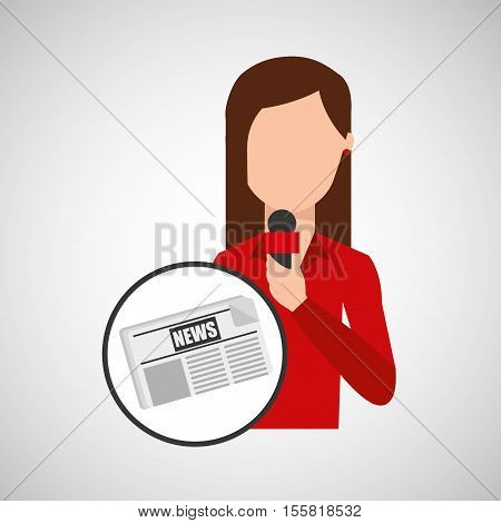 character woman reporter news template graphic vector illustration eps 10