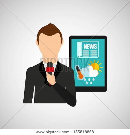 news weather reporter digital icon vector illustration eps 10