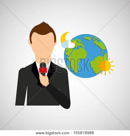 tv news weather reporter globe icon vector illustration eps 10