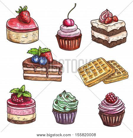 Desserts sketch. Isolated vector cakes with fruits and berries, chocolate muffin, creamy pie, souffle cupcake, crispy wafers, sweet mousse for dessert menu of bakery shop, cafe, cafeteria, patisserie