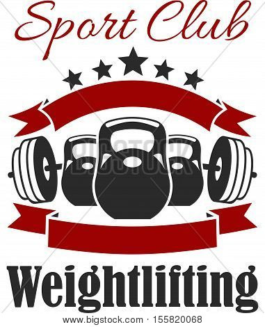 Weightlifting club sign. Vector badge for weightlifter, fitness, crossfit sport gym. Weight dumbbell, iron barbell, ribbon, star